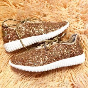 Forever L Nib Rose Gold Glitter Tennis Shoes